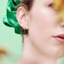 Boucles d'oreilles coquillage doré, perles et chaînes dorées