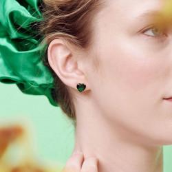 Boucles D'oreilles Dormeuses Boucles d'oreilles dormeuses pierre cœur la diamantine verte émeraude50,00€ AOLD145D/1Les Néréides