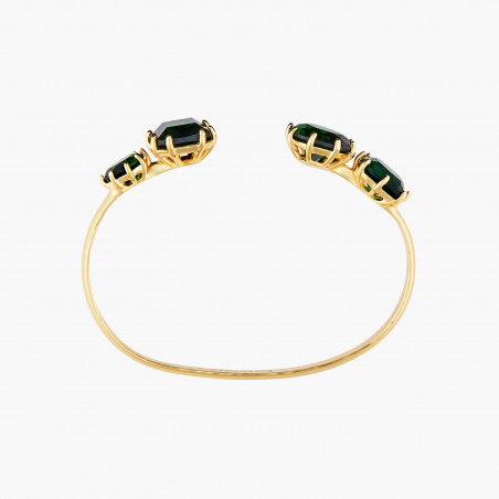 Green pearl and crystals adjustable ring