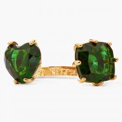 Bagues Fines Bague ajustable toi et moi pierre ovale et pierre cœur la diamantine vert émeraude70,00€ AOLD618/1Les Néréides