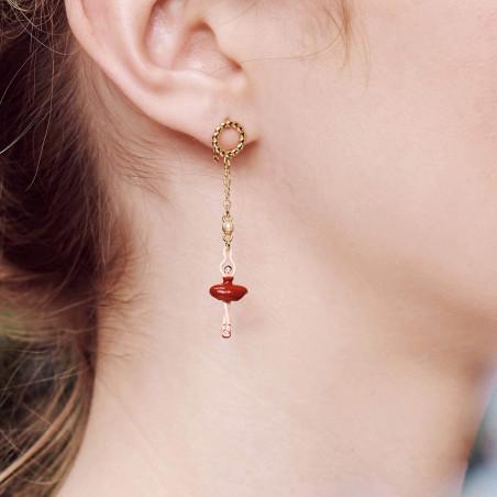 Boucles d'oreilles clip petite pierre ronde quartz fumé