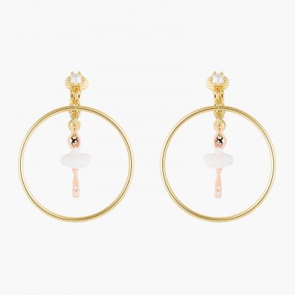 Boucles D'oreilles Clip Créoles Clip Mini Ballerine En Tutu Blanc90,00€ AOMDD103C/1Les Néréides