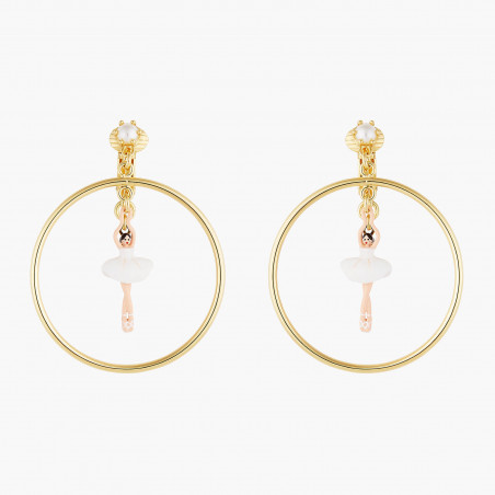 Opal white round stone earrings