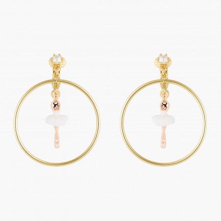 Boucles d'oreilles petite pierre ronde blanc opale