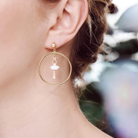 Boucles d'oreilles petite pierre ronde quartz fumé