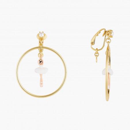 Boucles d'oreilles clip 4 pierres blanc opale