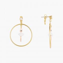 7 Opal white stones earrings