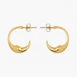 Crescent moon face earrings