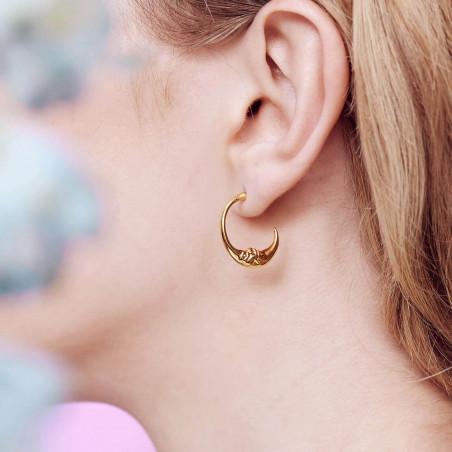 Boucles d'oreilles clip double pierre carrée blanc opale
