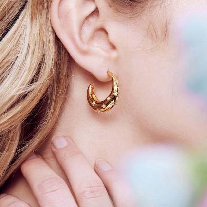 Boucles d'oreilles double pierre carrée quartz fumé