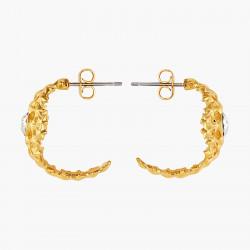 Boucles d'oreilles 3 pierres rondes blanc opale et chaîne