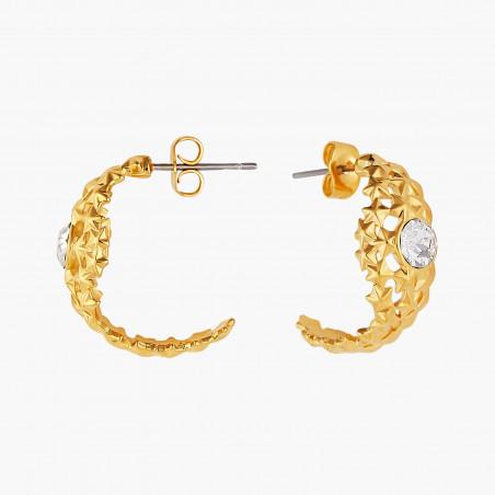 Boucles d'oreilles 3 pierres rondes quartz fumé et chaîne