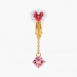 Boucles D'oreilles Clip Boucles d'oreilles pendantes clips orchidée papillon et pierre de verre facetté rose80,00€ AOOC103C/...
