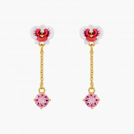 Post earrings LA DIAMANTINE 4 stones SMOKY QUARTZ