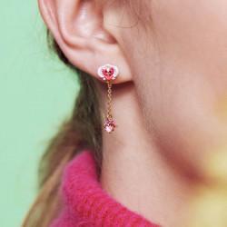 Boucles D'oreilles Pendantes Boucles d'oreilles pendantes tiges orchidée et pierre de verre facetté rose80,00€ AOOC103T/1Les...