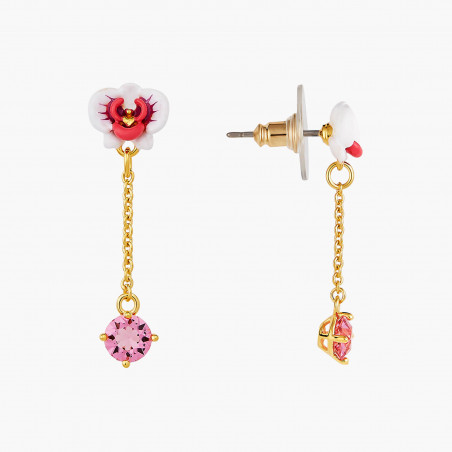 Sleeper earrings LA DIAMANTINE 2 round stones OPAL