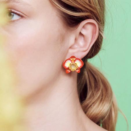 Clip earrings LA DIAMANTINE 2 square stones OPAL