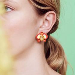Boucles D'oreilles Tiges Boucles d'oreilles tiges orchidée éléphant et cœur de cristal160,00€ AOOC105T/1Les Néréides