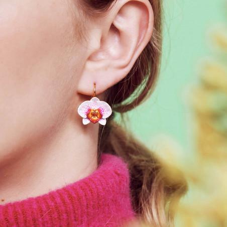 Post earrings LA DIAMANTINEt 3 stones and chain OPAL