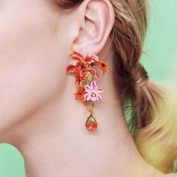 Boucles D'oreilles Pendantes Boucles d'oreilles pendantes tiges orchidées exotiques et pierres multicolore280,00€ AOOC107T/1...