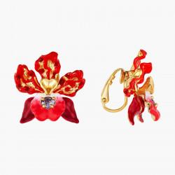 Boucles D'oreilles Clip Boucles d'oreilles clip fleur d'orchidées exotiques et cristal taillé140,00€ AOOC108C/1Les Néréides