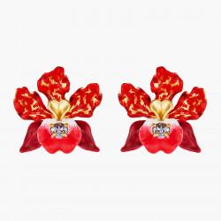 Boucles D'oreilles Tiges Boucles d'oreilles tiges fleur d'orchidées exotiques et cristal taillé140,00€ AOOC108T/1Les Néréides