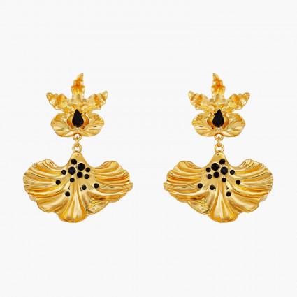 Boucles D'oreilles Pendantes Boucles d'oreilles pendantes tiges pétale d'orchidée flamboyante et cœur de cristal taillé180,00...
