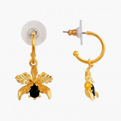 Boucles D'oreilles Creoles Boucles d'oreilles tiges orchidée flamboyante et perle noir d'eau douce90,00€ AOOC110T/1Les Néréides