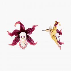 Boucles D'oreilles Tiges Boucles d'oreilles clip tête de mort vanité et orchidée cattleya160,00€ AOOC111T/1Les Néréides