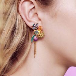 Boucles D'oreilles Clip Boucles d'oreilles pendantes clip fleur tropicales et pierre de verre facetté195,00€ AOOC112C/1Les N...
