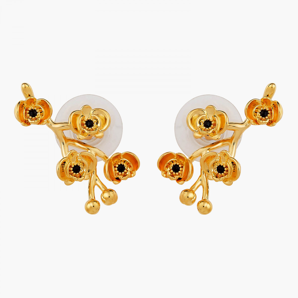 Boucles D'oreilles Tiges Boucles d'oreilles tiges branche orchidées flamboyantes au cœur de cristal taillé90,00€ AOOC114T/1L...