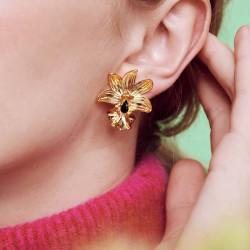 Boucles D'oreilles Clip Boucles d'oreilles clip orchidée famboyante et cristal taillé130,00€ AOOC115C/1Les Néréides
