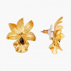 Boucles D'oreilles Pendantes Boucles d'oreilles tiges orchidée famboyante et cristal taillé130,00€ AOOC115T/1Les Néréides