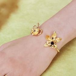 Bracelets Jonc Bracelet jonc deux orchidées flamboyantes cœur de crital taillé et pierre de verre facetté190,00€ AOOC205/1Le...