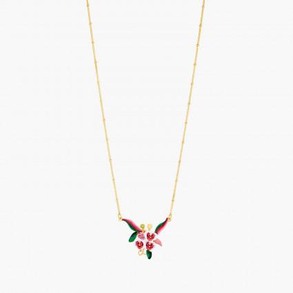 Colliers Plastrons Collier pendentif orchidée papillon feuillage et pierre rose130,00€ AOOC301/1Les Néréides