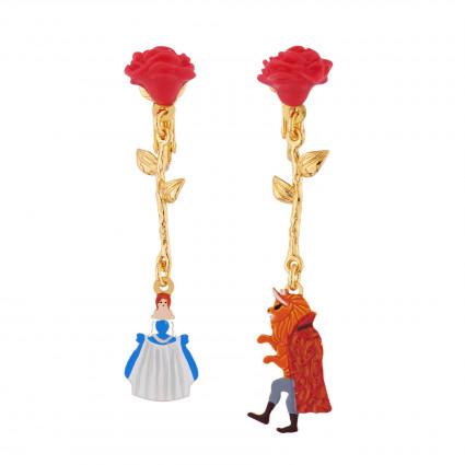 Boucles D'oreilles Boucles D'oreilles Clip Asymétriques Roses Rouges Et Pampilles La Belle Et La Bête
