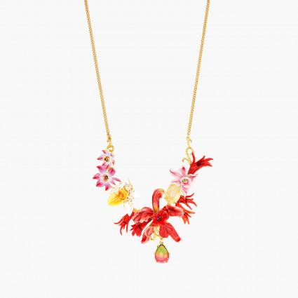 Colliers Plastrons Collier plastron orchidées exotiques et pierres multicolore390,00€ AOOC305/1Les Néréides