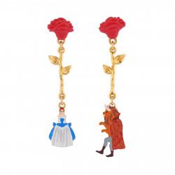Boucles D'oreilles Boucles D'oreilles Asymétriques Roses Rouges Et Pampilles La Belle Et La Bête