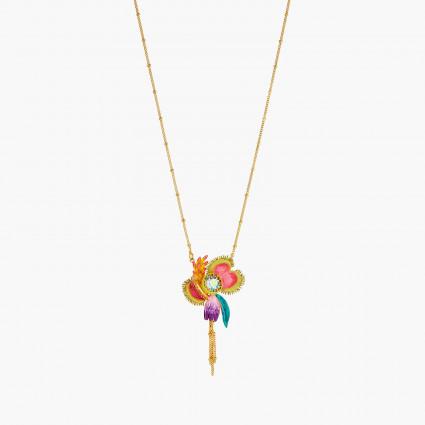 Colliers Plastrons Collier pendentif fleurs tropicales et pierre de verre facetté180,00€ AOOC310/1Les Néréides