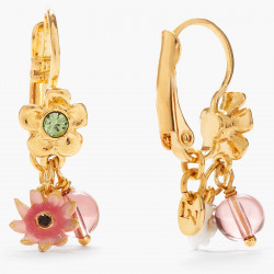 Boucles D'oreilles Dormeuses Boucles d'oreilles dormeuses fleurs romantiques et gland doré en pampille80,00€ AOPJ102D/1Les N...