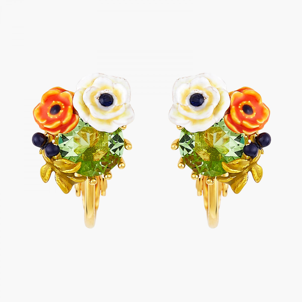 Boucles D'oreilles Clip Boucles d'oreilles clips pierre de verre facetté et fleurs de pavot90,00€ AOPJ104C/1Les Néréides