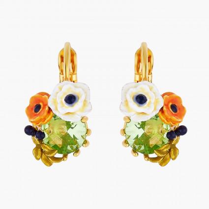 Boucles D'oreilles Dormeuses Boucles d'oreilles dormeuses pierre de verre facetté et fleurs de pavot90,00€ AOPJ104D/1Les Nér...