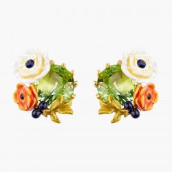 Boucles D'oreilles Tiges Boucles d'oreilles tiges pierre de verre facetté et fleurs de pavot90,00€ AOPJ104T/1Les Néréides