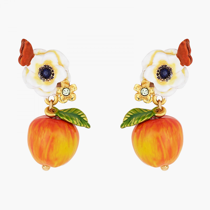 Boucles D'oreilles Pendantes Boucles d'oreilles tiges fleur de pavot blanc, papillon et pomme croquante130,00€ AOPJ108T/1Les...