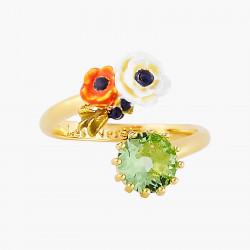 Bagues Ajustables Bague toi et moi fleurs de pavot et pierre de verre facetté90,00€ AOPJ606/1Les Néréides