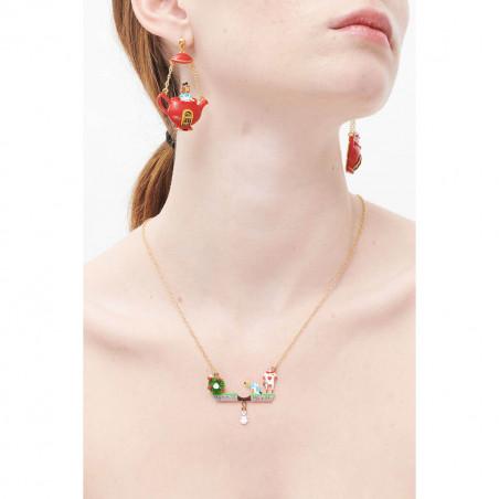 Collier transformable en sautoir fleur rose, boutons et verres taillés
