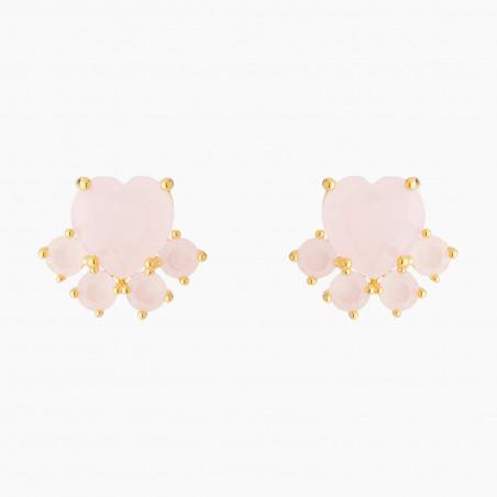 Boucles d'oreilles petite fleur rose, papillon et pampilles