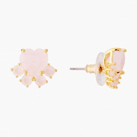 Boucles d'oreilles fleur rose et cascade de chaînes