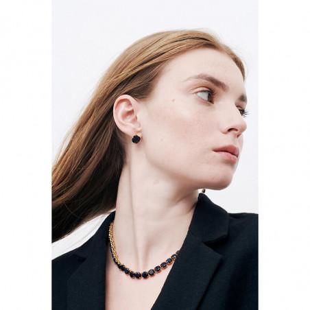 Boucles d'oreilles pierres roses et noires pailletées