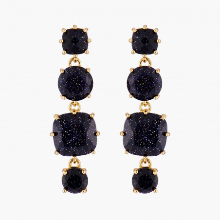 Square glittered black and marbeled and little round half pink and marbeled stones clip earrings